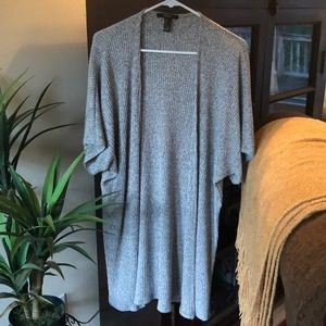Grey Forever 21 cardigan with mid length sleeves.
